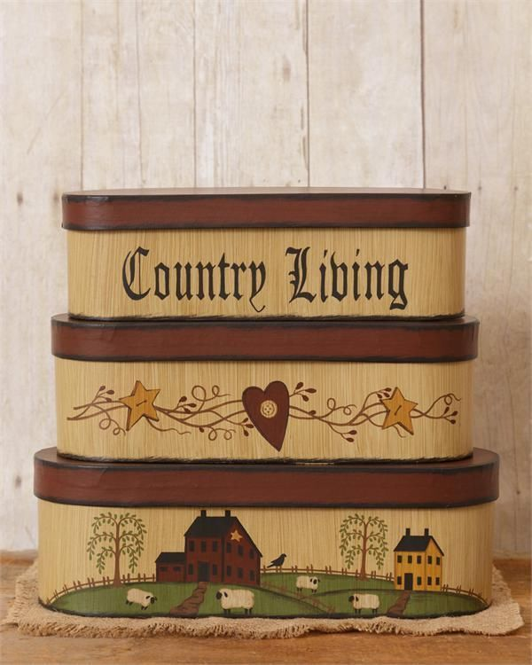 New Primitive COUNTRY LIVING Star Heart Salt House Sheep Nesting Stacking Boxes #Country