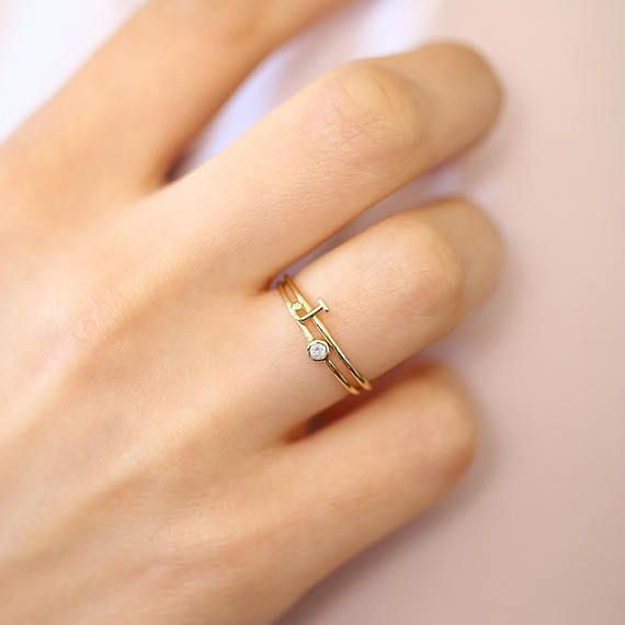 Cute Rings Gold Inital Rings A-Z Letter Ring Adjustable Opening Cute Gifts for Her Jewelry Engagement gift or Birthday Gift