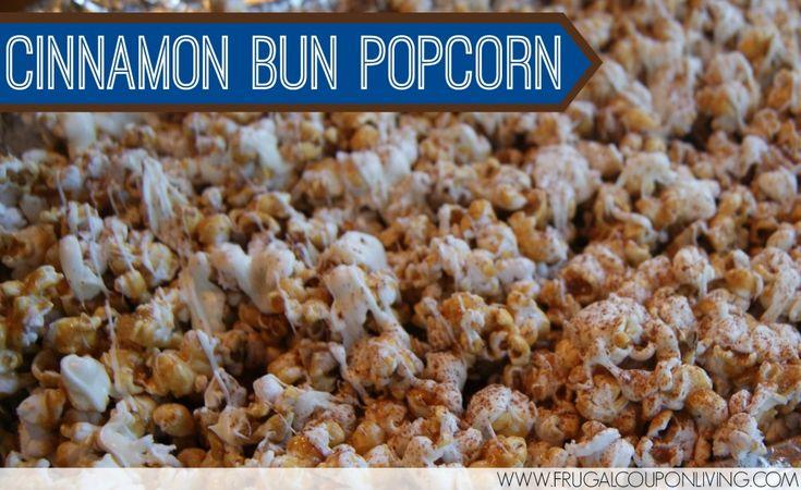 Cinnamon Bun Popcorn Recipe – 4 Days of Popcorn Recipes - Great for giving over the holiday season! #Recipe #cinnamonbun #holiday