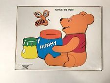 Vintage Disney Winnie the Pooh Wood 10 Piece Inlay Frame Puzzle Tray Honey Bee Pot