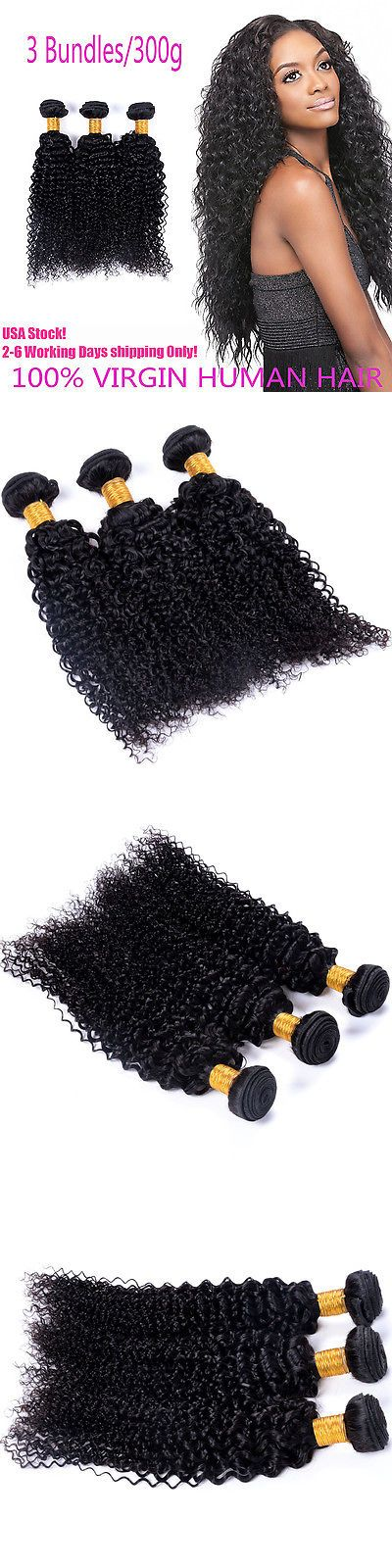 Hair Extensions: 300G/3 Bundles 7A Unprocessed Virgin Hair Peruvian Curly Human Hair Extension BUY IT NOW ONLY: $49.44