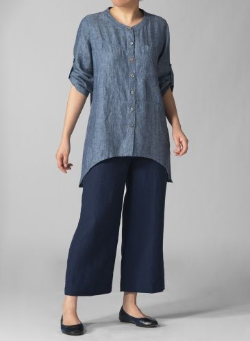PLUS Clothing - scoop-neck-3-4-sleeve-layering-linen-blouse
