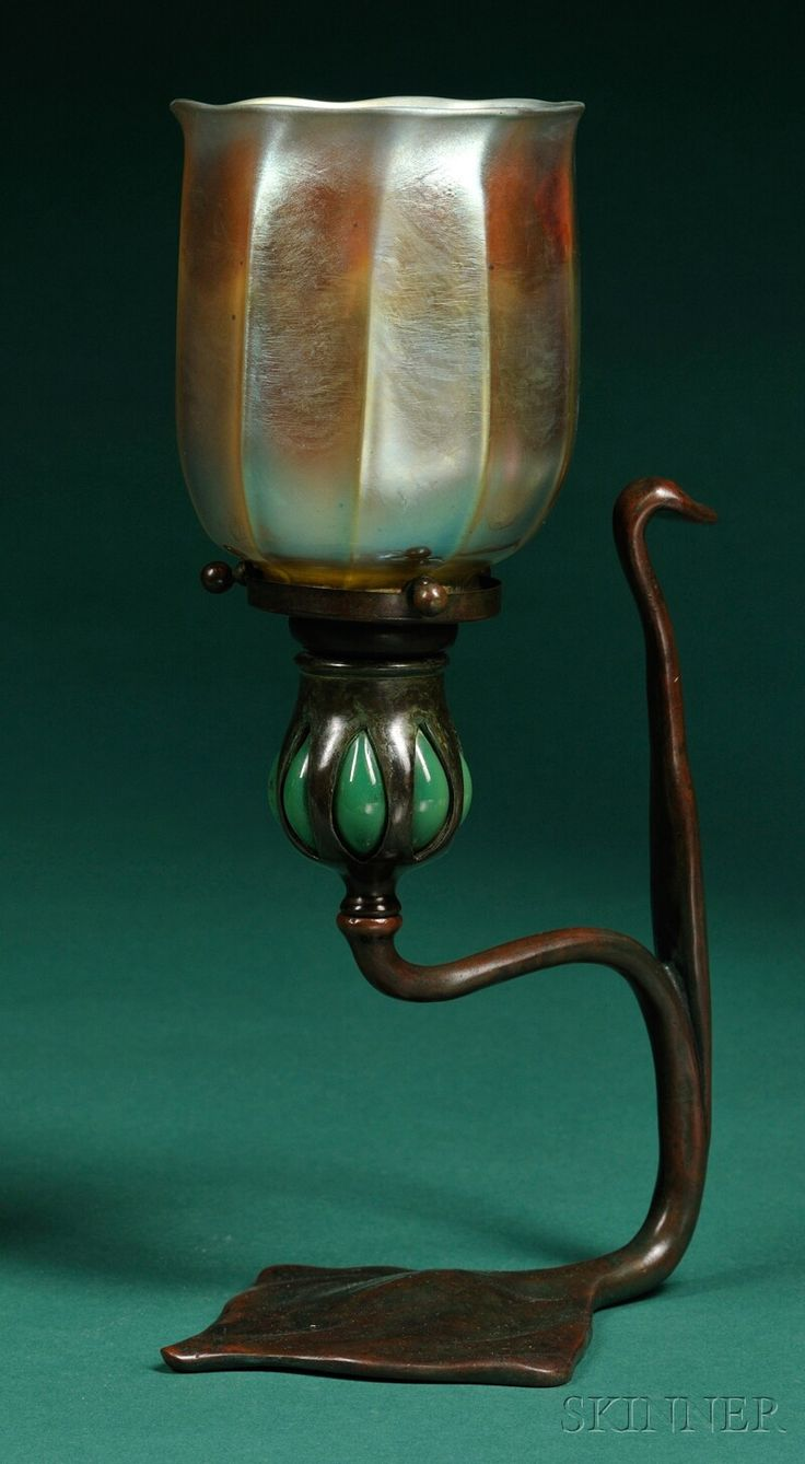 Tiffany Studios Candlestick And Shade Verdigris Bronze And Art Glass New  York, Early Century Gold Iridescent Ribbed Shade, Marked L., Aperture  Mounted On ...