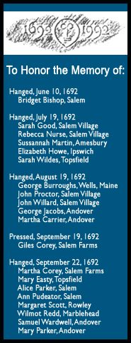 The Salem Award honors the memory of those condemned during the Salem Witch Trials of 1692.