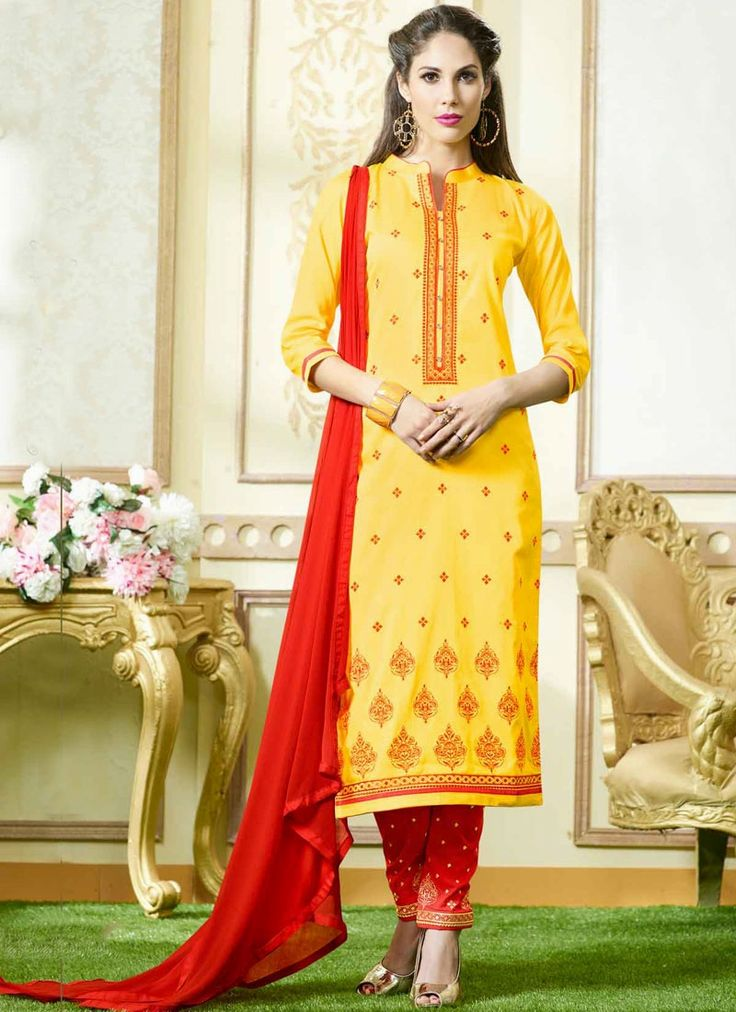 Online huge range of designer casual salwar suits. Order this princely cotton   embroidered work churidar suit for casual and party.