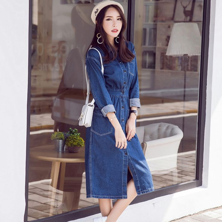 ==> [Free Shipping] Buy Best Autumn 2016 fashion Women blue denim Dress casual loose long sleeved T shirt dresses straight dress plus size Winter Dresses Online with LOWEST Price | 32754432893
