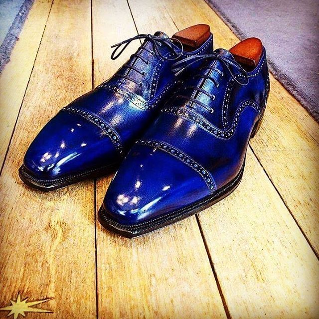 The Bucy in Blue, another splendid livery #Corthay #Paris #Bucy #Blue #Patina #Shoes #MadeInFrance #TheFinestShoes #LaCouleurCestCorthay #Shoeporn