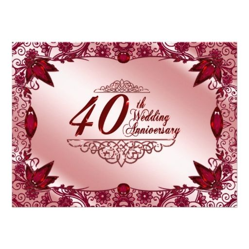 645 best 40th anniversary party invitations images on pinterest 40th wedding anniversary invitation stopboris Image collections