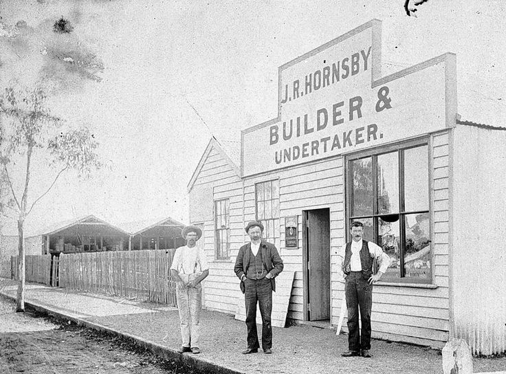 The front of the shop of 'J R Hornsby Builder & Undertaker', c1905. James R. Hornsby as atimber merchant, builder, contractor, had built at least half the buildings in Donald at the time he died in July 1917.