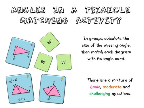 Angles in a Triangle Matching Activity