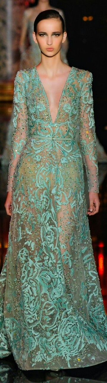 Elie Saab Fall / Winter Couture 2014-15 aqua green // Pinned by Dauphine Magazine x Castlefield - Curated by Castlefield Bridal & Branding Atelier and delivering the ultimate experience for the haute couture connoisseur! Visit www.dauphinemagazine.com, @dauphinemagazine on Instagram, and @dauphinemag on Pinterest • Visit Castlefield: www.castlefield.co and @ castlefieldco on Instagram / Luxury, fashion, weddings, bridal style, décor, travel, art, design, jewelry, photography, beauty…