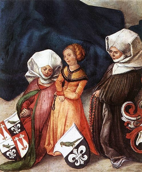 Detail of praying women from the Paumgartner altar by Albrecht Dürer,1503