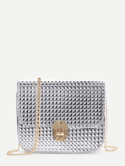 Bolso con cadena con cierre giratorio con textura de diamante - plateado