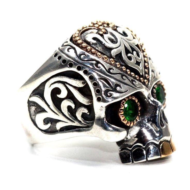 925 Silber Biker Sugar Skull RING Silber Tribal Totenkopf Ring Smaragdaugen in Uhren & Schmuck, Echtschmuck, Ringe | eBay!