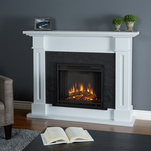 Real Flame Kipling White 53.5 in. L x 13.7 in. W x 41.5 in. H Electric Fireplace