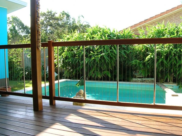 Beautiful Australian Hardwood Rails, with Stainless Steel Infill Pool Fence