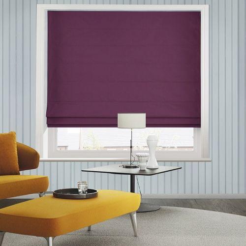 Damson Velvet Roman blinds