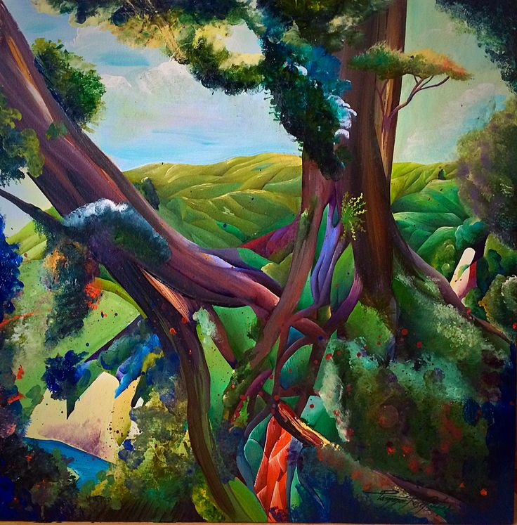 """What do u think??? New Work """"Through the Trees"""" Rangitikei, acrylic on board, 2015, Tammie Riddle. $500 NZD  That moment when you just catch a glimpse of something, like when traveling in a car or fast moving weather comes through, you can't get it back exactly the same again. But that creativity hits a nerve. I've used the cubism to collectively present two views that aren't seen as a vista together in reality. Inspired from a well kept Rangitikei secret called White Cliff Boulders."""