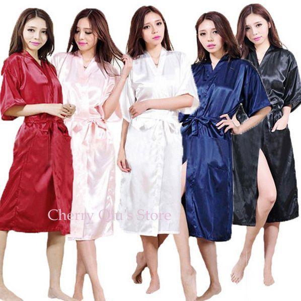 Vrouwen Zijde Satijn Lange Bruid Bruidsmeisje Gewaad Kimono Robe Feminino Badjas Grote Maat XXXL Peignoir Femme Sexy Badjas