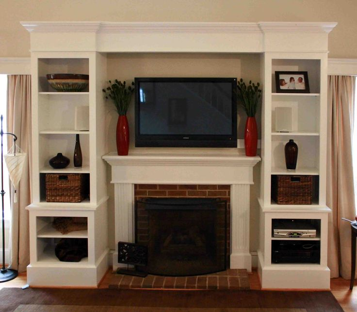 Foxy White Custom Built In Cabinets Fireplace ...