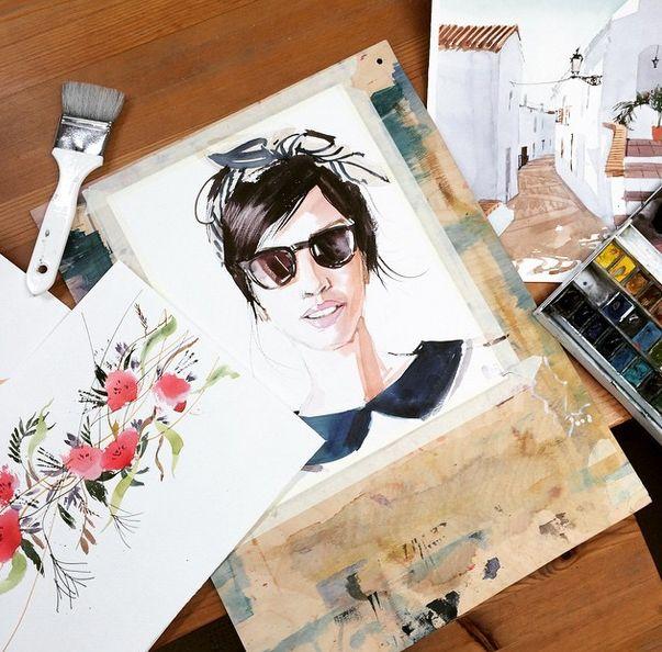цветы и портрет в темных очках