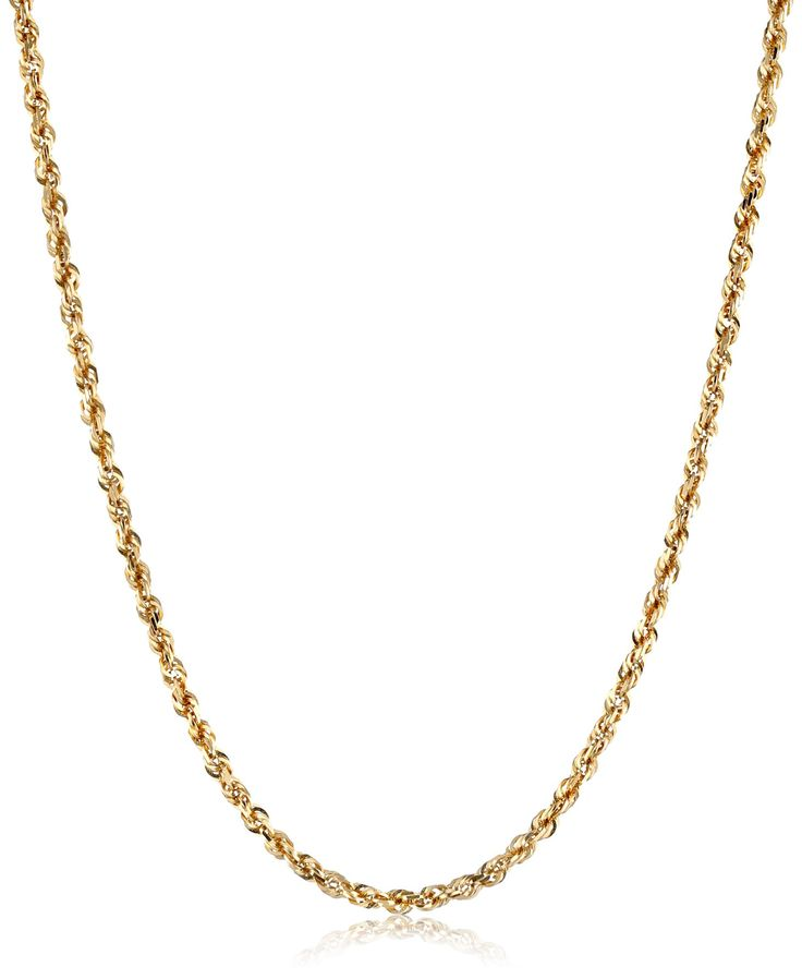 """Men's 14k Yellow Gold Solid Diamond-Cut Rope Chain Necklace (3.0mm), 22"""". 14k yellow gold classic rope chain necklace. Men's chain finished with lobster-claw clasp. Duragold is a 14k gold jewelry collection that marries quality, design and superior craftsmanship."""