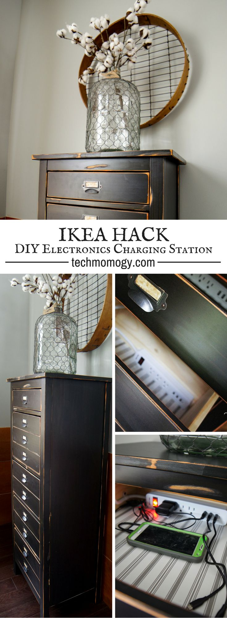 IKEA Hack: DIY Electronics Charging Cabinet from a 5 drawer Hemnes dresser | Techmomogy.com - If you like Ikea's Hemnes line of furniture, Ikea Hacks, distressed vintage-looking home decor, and the idea of organized electronics, you will LOVE my DIY Electronics Charging Cabinet!