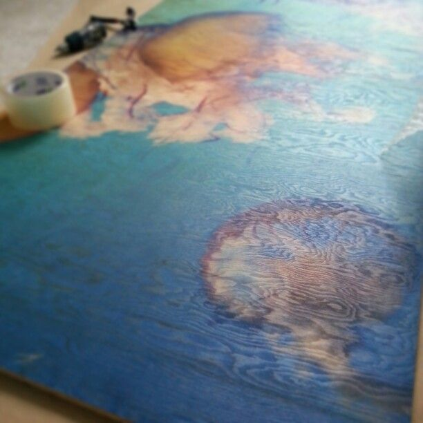 Large 4x2ft jellyfish print on Fir Plywood