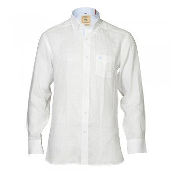 A timeless white linen shirt and a must for your summer wardrobe. Team it with a blue salt and pepper jacket to complete the look. Features include a buttoned down collar and a chest pocket.