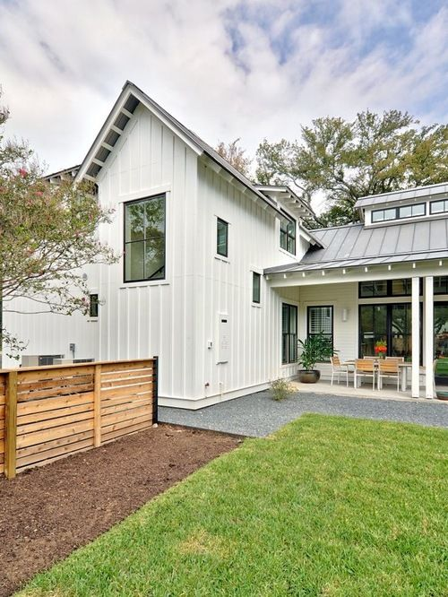 Modern Farmhouse just outside of downtown Austin, TX for a family of four  and their dog Hank. | CAl | Pinterest | Modern farmhouse, Modern and Fences