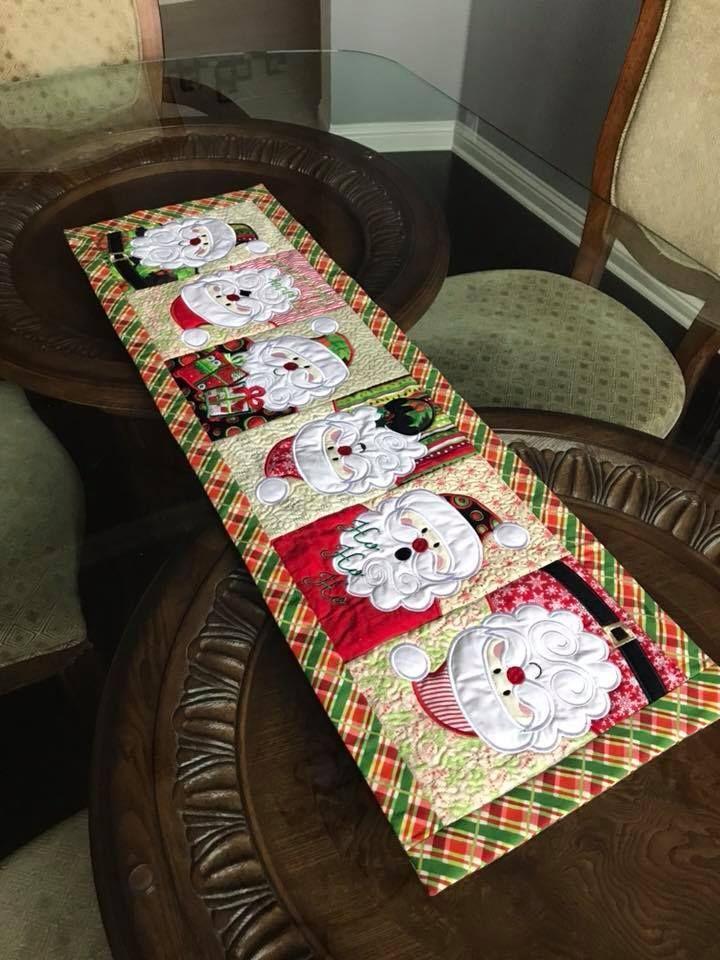 Santa Table Runner 5x7 6x10 8x12 Christmas Embroidery Designs Machine Embroidery Projects Embroidery Designs