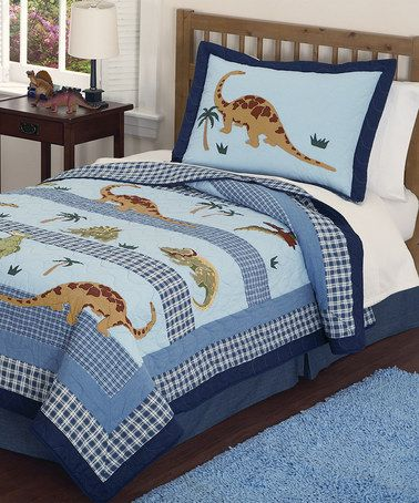 Loving this Walking Dinosaur Quilt Set on #zulily! #zulilyfinds