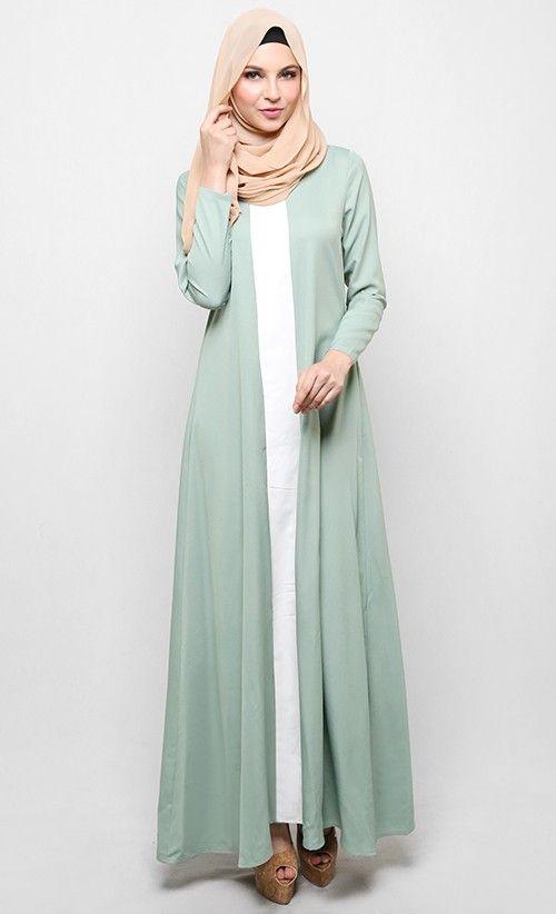 Cut and Sew Jubah in Mint Green | FashionValet