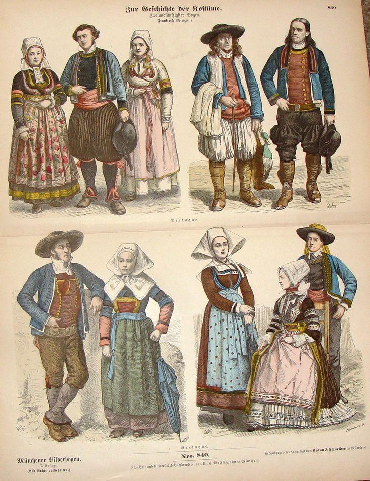 "Braun & Schneider's Costumes - ""BRETAGNE (Number 840)"" - Chromo Lithograph - 1861"