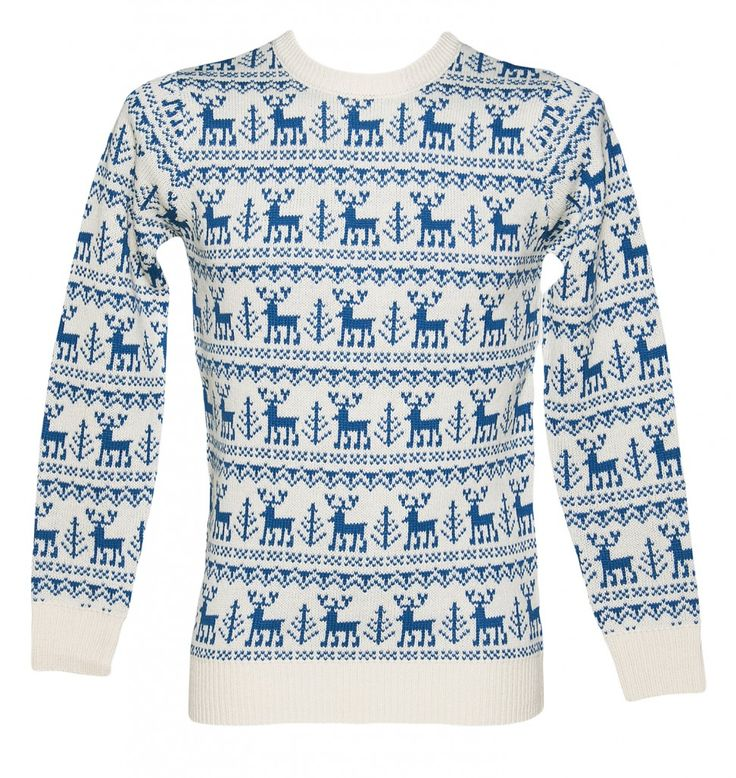 Unisex Blue Reindeer Repeat Knitted Christmas Jumper From Cheesy Christmas Jumpers : TruffleShuffle.com