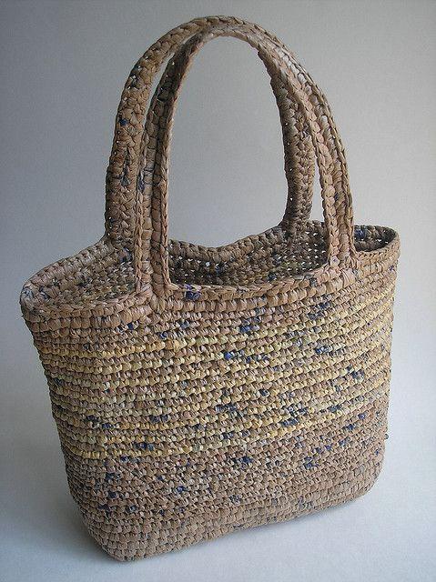 crocheted plarn bag