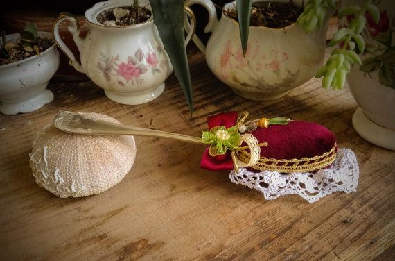 Pincushion. Old altered, upcycled alpaca spoon red pincushion. Red velvet, lace recycled pin cushion. Mothers day gift