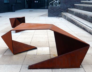 Corten sculpture. I like the modular geometry and the rust like appearance.