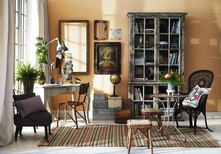 Bohemian country style home office library