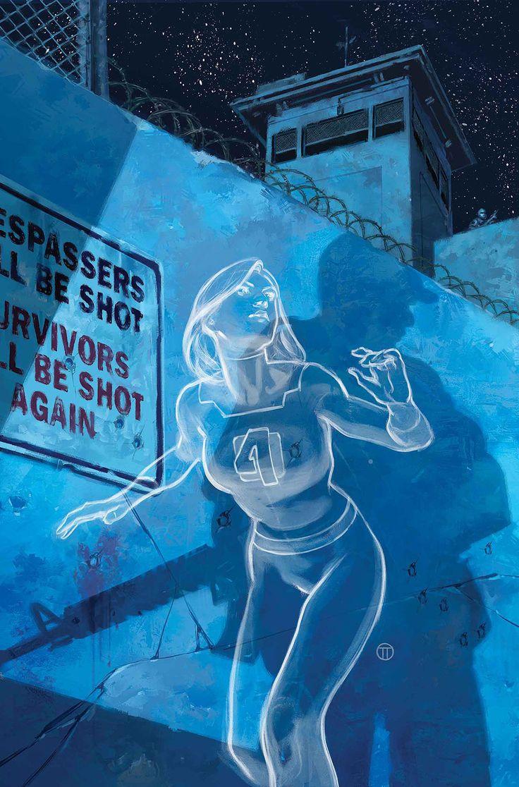 Sue Storm - The Invisible Woman.  Haha!  The sign behind her says trespassers with be shot and survivors will be shot again!