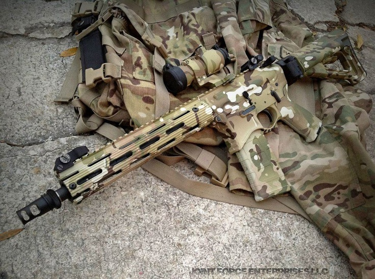Multicam AR with /Troy handguard, Troy sights, AimPoint, Seekins Precision receivers, Law Tactical side folding adapter, and various Magpul items.