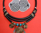 necklace handmade with spiral color bronze and turquoise stone
