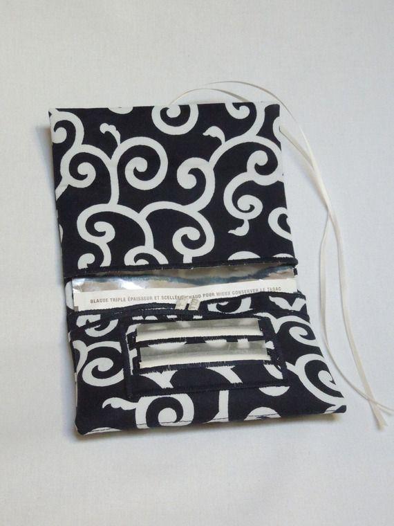 Blague à tabac / Pochette à tabac pratique en tissu japonais bleu nuit motifs…