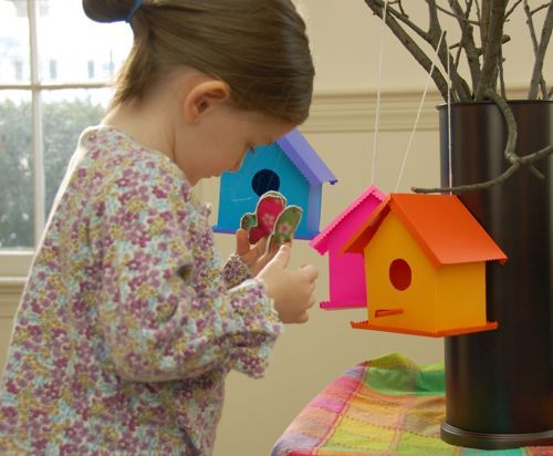 Adorable  paper birdhouse play set with cute little felted birds