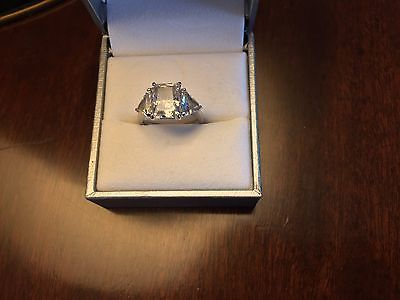 2Ct? Emerald Cut CZ Engagement Ring 14Kt White Gold (3 Stones total)
