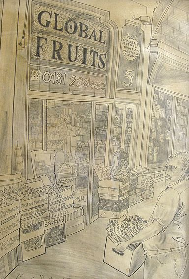 'Global Fruits' by Emily Sutton (pencil drawing)