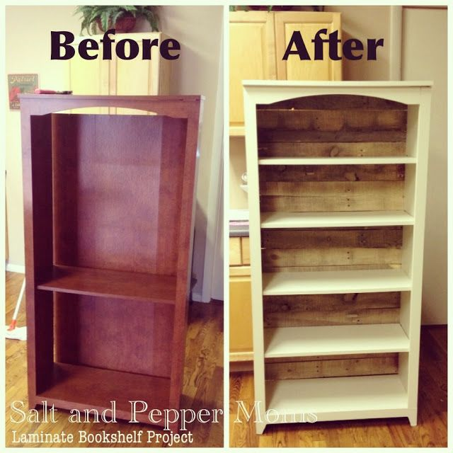 Salt and Pepper Moms: Laminate Bookshelf Makeover- paint coat and replace flimsy back with pallet wood adding stability to the unit.