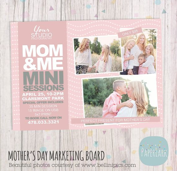 Mother39s day template mini session photoshop by paperlarkdesigns 800 photography design for Free mini session templates