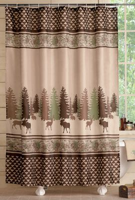 Woodland Cabin Moose and Deer Shower Curtain