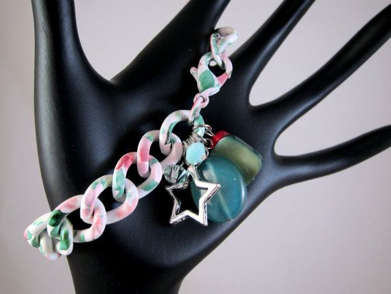 Pastel Floral Print Chain Bracelet with Silver by SweetandPretty